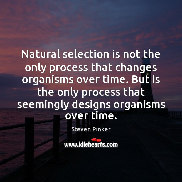 Natural selection is not the only process that changes organisms over time. Steven Pinker Picture Quote