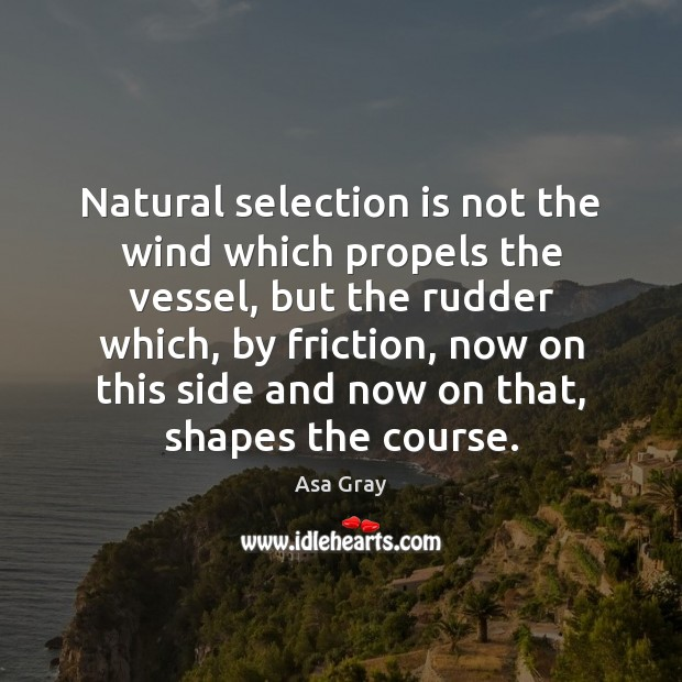 Image, Natural selection is not the wind which propels the vessel, but the