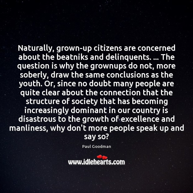 Naturally, grown-up citizens are concerned about the beatniks and delinquents. … The question Paul Goodman Picture Quote