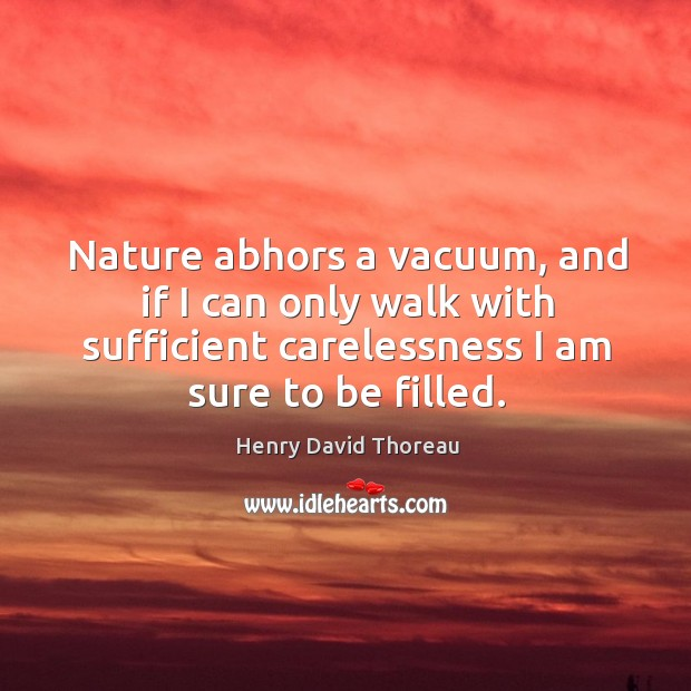 Nature abhors a vacuum, and if I can only walk with sufficient carelessness I am sure to be filled. Image