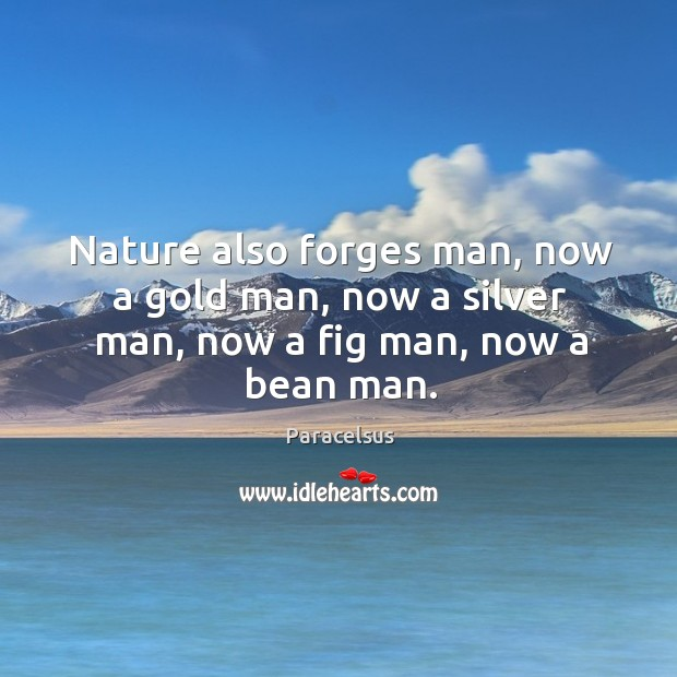Nature also forges man, now a gold man, now a silver man, now a fig man, now a bean man. Paracelsus Picture Quote