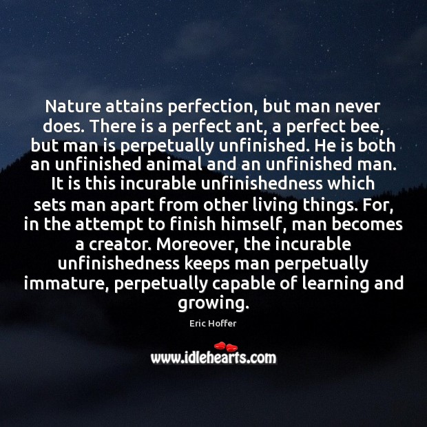 Nature attains perfection, but man never does. There is a perfect ant, Nature Quotes Image