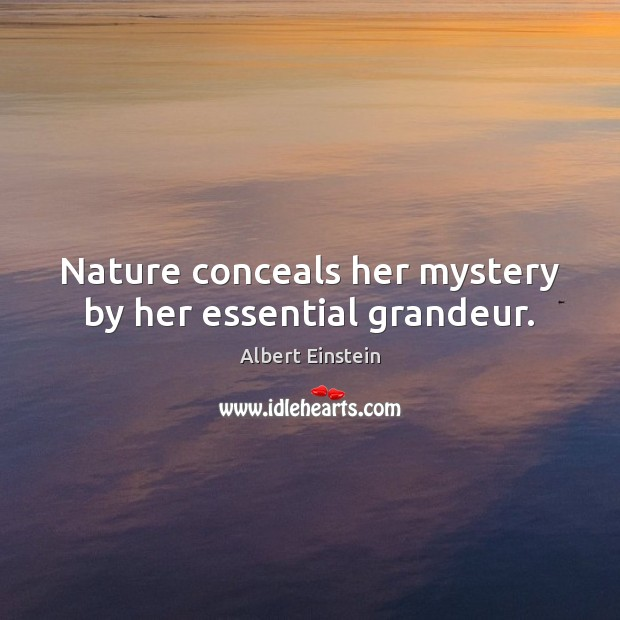 Image, Nature conceals her mystery by her essential grandeur.