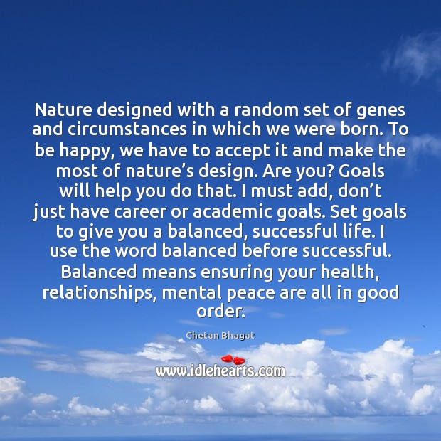 Nature designed with a random set of genes and circumstances in which Image