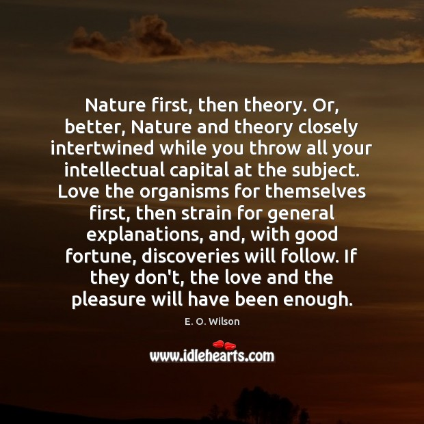 Image, Nature first, then theory. Or, better, Nature and theory closely intertwined while