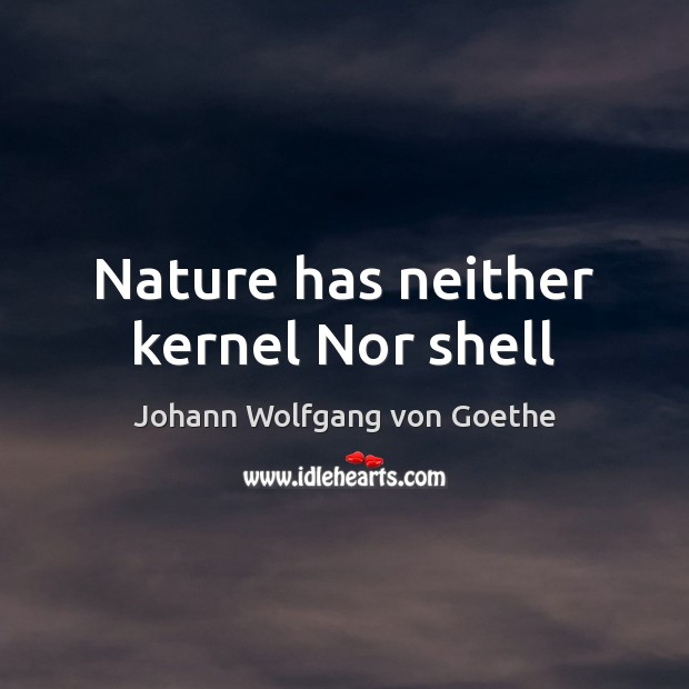 Nature has neither kernel Nor shell Image
