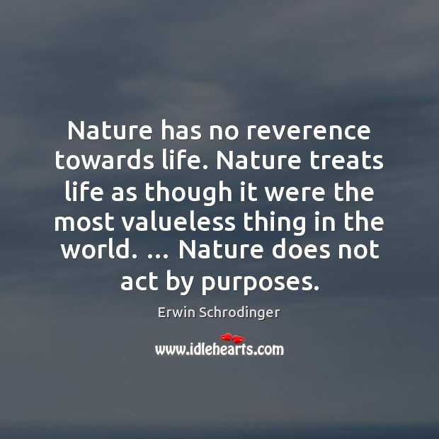 Nature has no reverence towards life. Nature treats life as though it Erwin Schrodinger Picture Quote