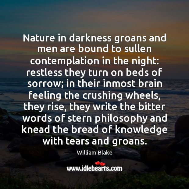 Nature in darkness groans and men are bound to sullen contemplation in Image