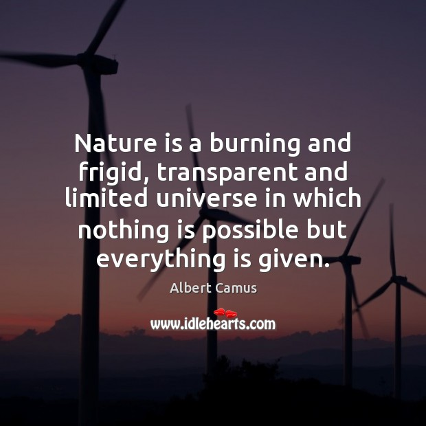 Nature is a burning and frigid, transparent and limited universe in which Image
