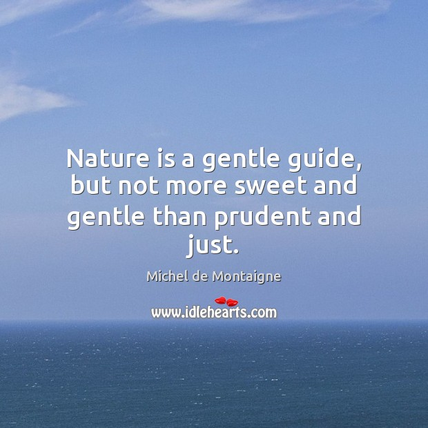 Nature is a gentle guide, but not more sweet and gentle than prudent and just. Michel de Montaigne Picture Quote
