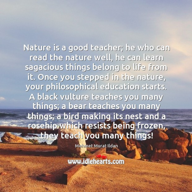 Image, Nature is a good teacher; he who can read the nature well,