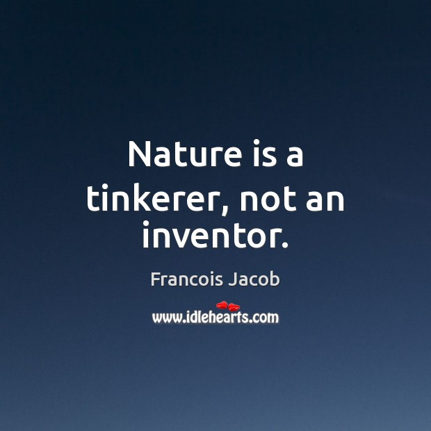Image, Nature is a tinkerer, not an inventor.
