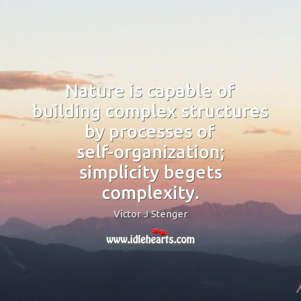 Image, Nature is capable of building complex structures by processes of self-organization; simplicity