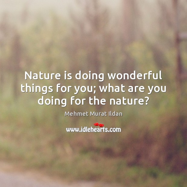 Image, Nature is doing wonderful things for you; what are you doing for the nature?