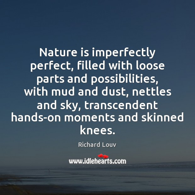 Image, Nature is imperfectly perfect, filled with loose parts and possibilities, with mud