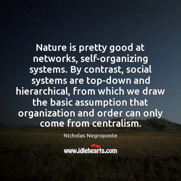 Nature is pretty good at networks, self-organizing systems. By contrast, social systems Image