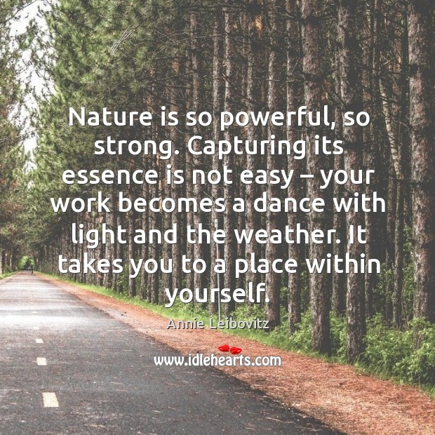 Nature is so powerful, so strong. Capturing its essence is not easy – your work becomes Annie Leibovitz Picture Quote