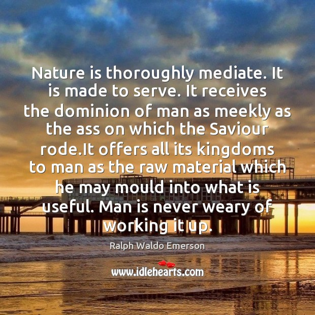 Nature is thoroughly mediate. It is made to serve. It receives the Image