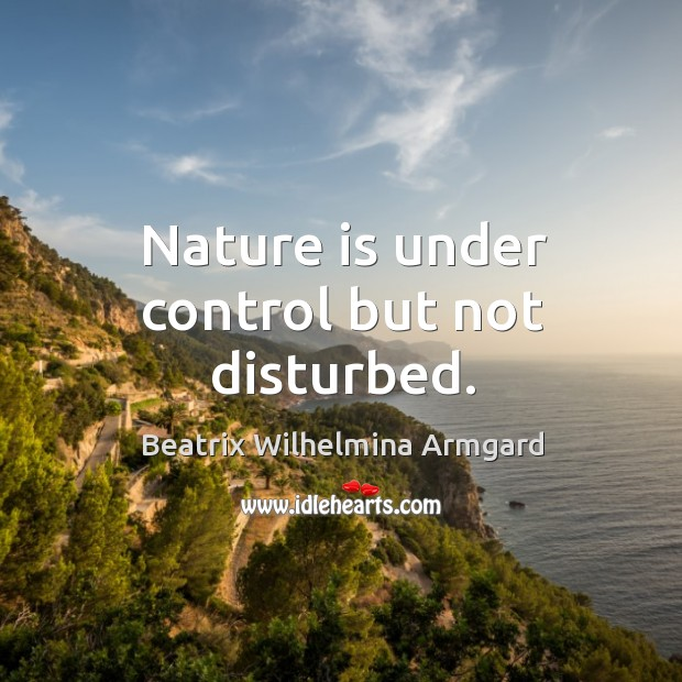 Nature is under control but not disturbed. Image