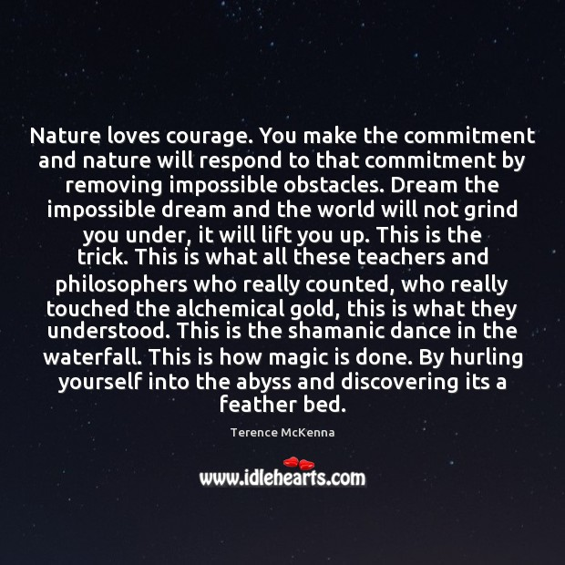 Nature loves courage. You make the commitment and nature will respond to Terence McKenna Picture Quote