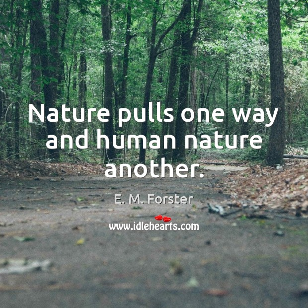 Nature pulls one way and human nature another. Image