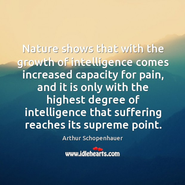 Nature shows that with the growth of intelligence comes increased capacity for pain Image