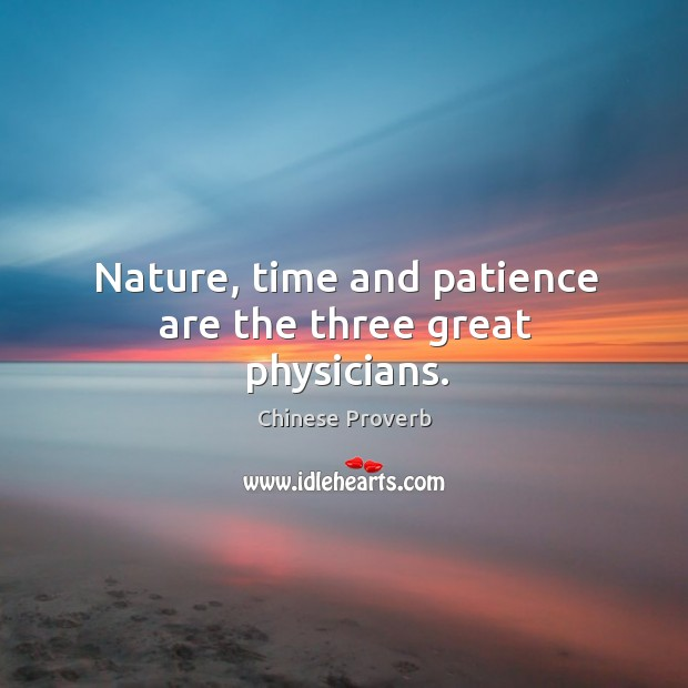 Image, Nature, time and patience are the three great physicians.