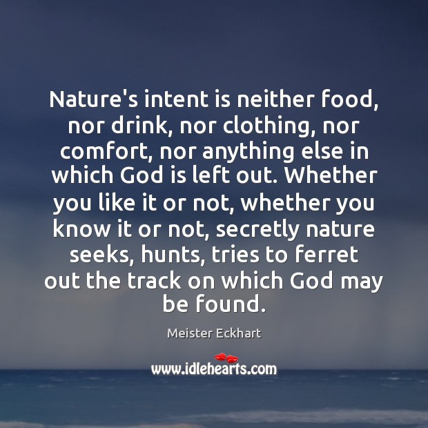 Nature's intent is neither food, nor drink, nor clothing, nor comfort, nor Image