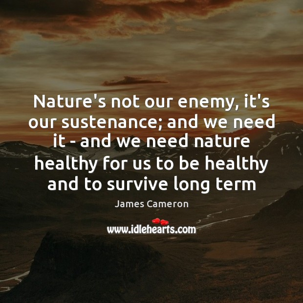 Nature's not our enemy, it's our sustenance; and we need it – Enemy Quotes Image