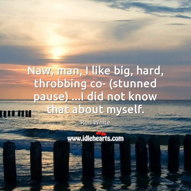 Naw, man, I like big, hard, throbbing co- (stunned pause) …I did Ron White Picture Quote