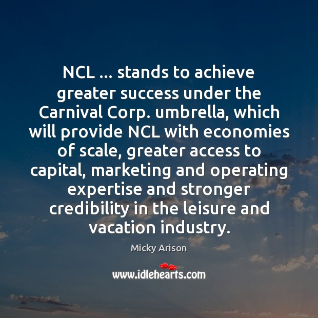 NCL … stands to achieve greater success under the Carnival Corp. umbrella, which Image