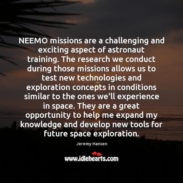 NEEMO missions are a challenging and exciting aspect of astronaut training. The Image
