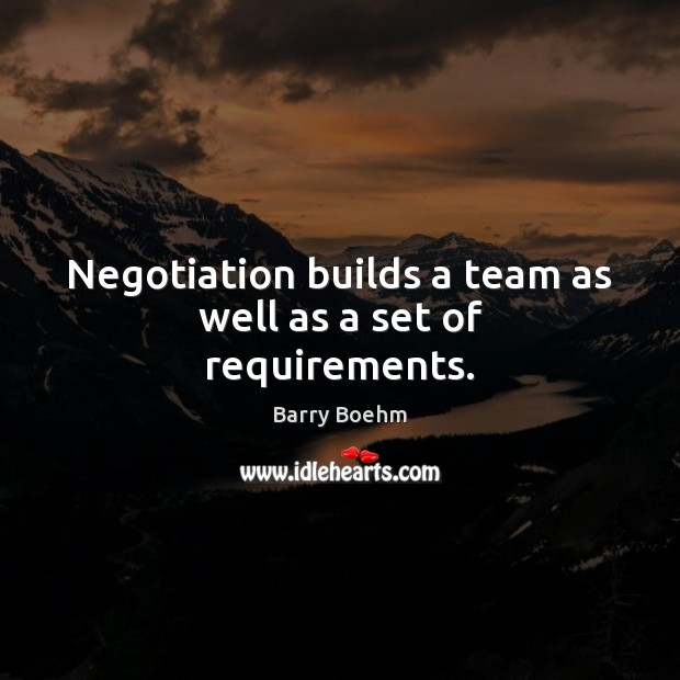 Image, Negotiation builds a team as well as a set of requirements.