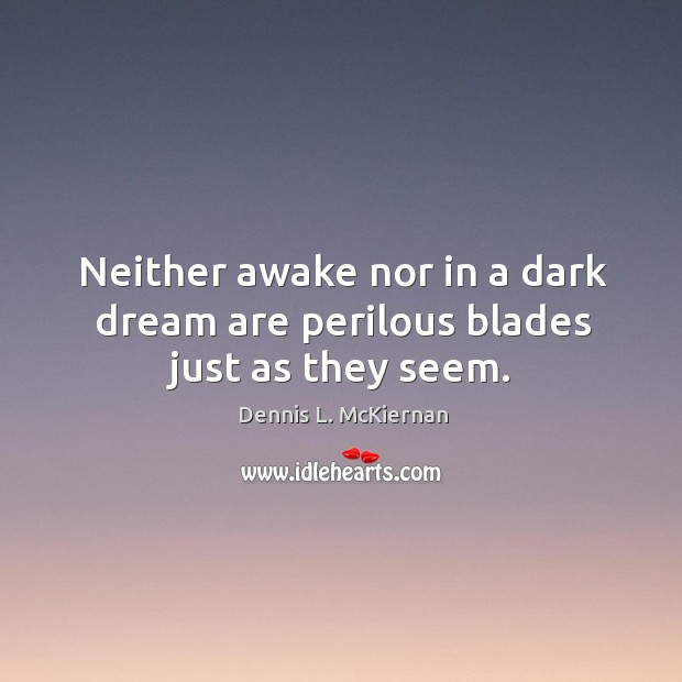 Neither awake nor in a dark dream are perilous blades just as they seem. Dennis L. McKiernan Picture Quote