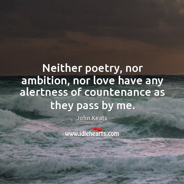 Neither poetry, nor ambition, nor love have any alertness of countenance as Image