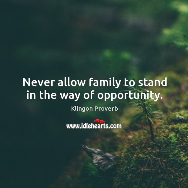 Never allow family to stand in the way of opportunity. Klingon Proverbs Image
