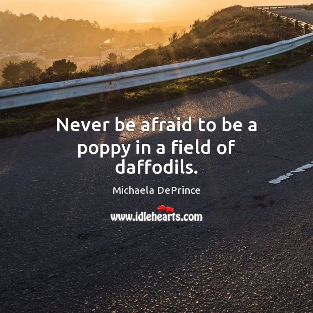 Never be afraid to be a poppy in a field of daffodils. Never Be Afraid Quotes Image