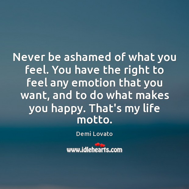 Never be ashamed of what you feel. You have the right to Demi Lovato Picture Quote