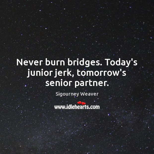 Never burn bridges. Today's junior jerk, tomorrow's senior partner. Sigourney Weaver Picture Quote