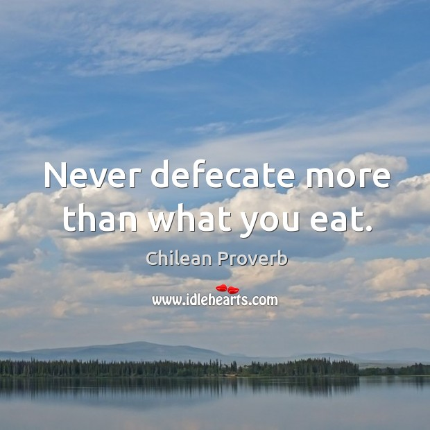 Never defecate more than what you eat. Chilean Proverbs Image
