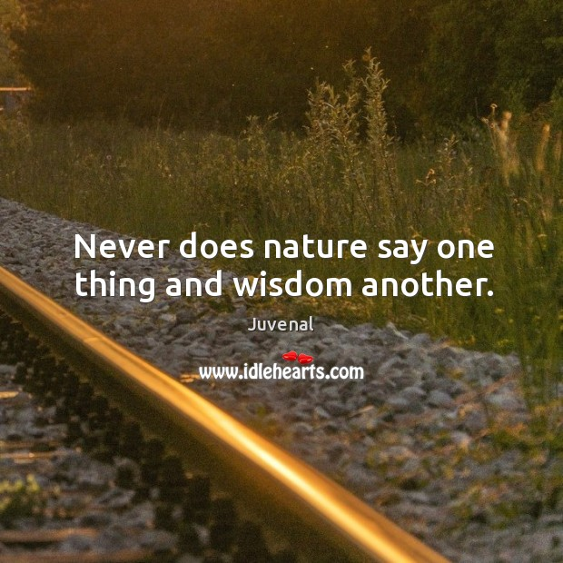 Never does nature say one thing and wisdom another. Image
