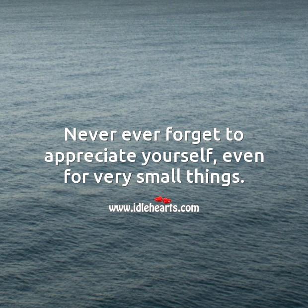 Never ever forget to appreciate yourself. Appreciate Quotes Image