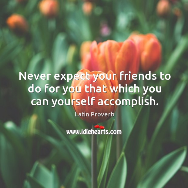 Never expect your friends to do for you that which you can yourself accomplish. Image