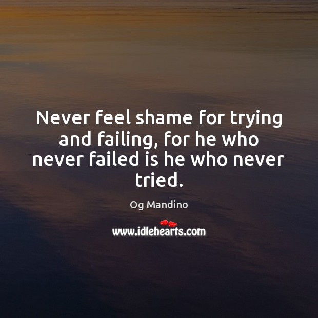 Never feel shame for trying and failing, for he who never failed is he who never tried. Og Mandino Picture Quote