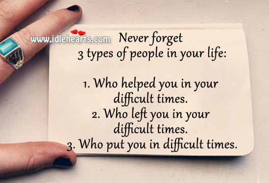 Never forget 3 types of people in your life. Image