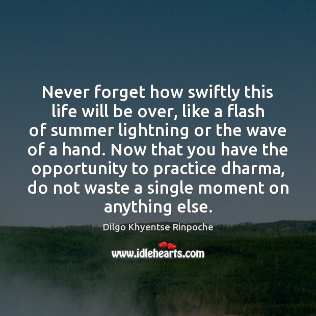 Never forget how swiftly this life will be over, like a flash Dilgo Khyentse Rinpoche Picture Quote