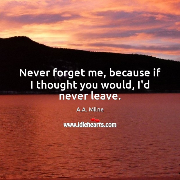 Image, Never forget me, because if I thought you would, I'd never leave.