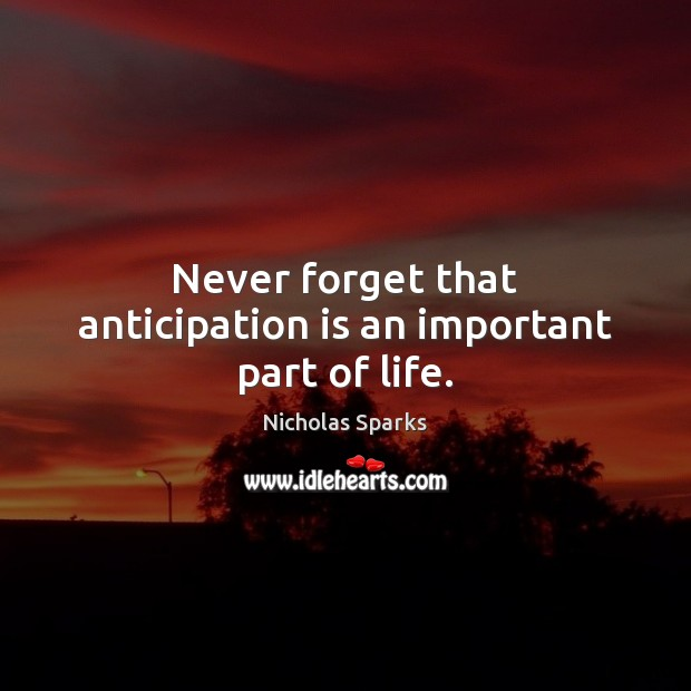 Never forget that anticipation is an important part of life. Nicholas Sparks Picture Quote
