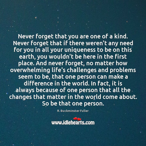Never forget that you are one of a kind. Never forget that R. Buckminster Fuller Picture Quote