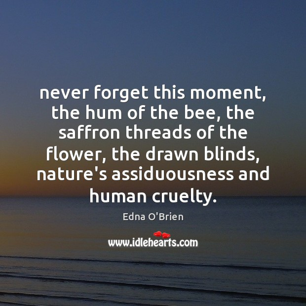 Never forget this moment, the hum of the bee, the saffron threads Image